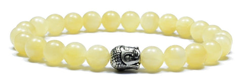Manipura - Men's bracelet citrine and silver color buddha