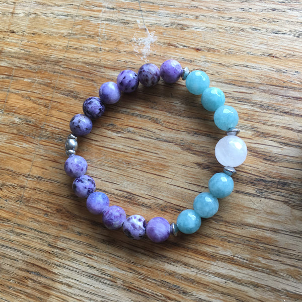 Hibiscus Purple Jasper and faceted Amazonite and Rose Quartz Women Bracelet