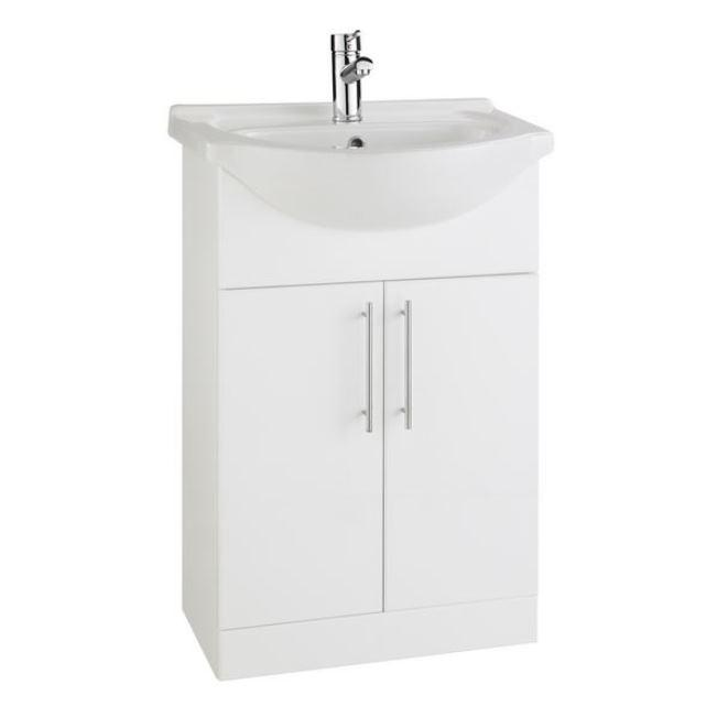 Encore 650mm White Gloss Vanity Unit and Ceramic Basin
