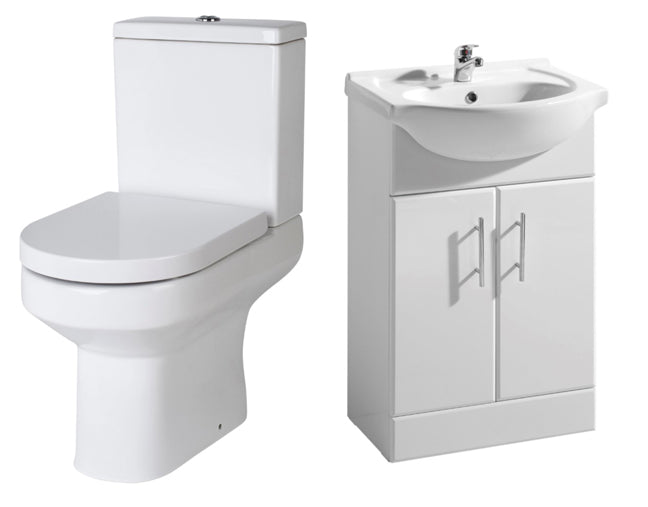 550 Vanity Unit, C/C Toilet with Soft Close Seat and Mono Basin Mixer with Waste