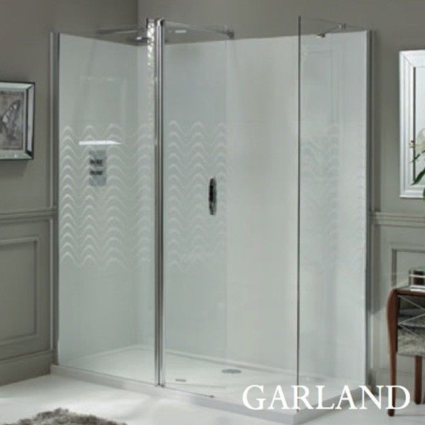 Laura Ashley 800mm Walk in Panel Wetroom Screen Garland Patterned Glass - Leeds Clearance Bathrooms
