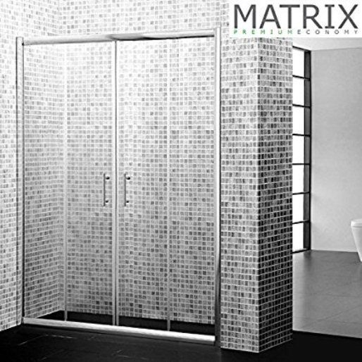 Matrix 1400mm Double Sliding Shower Door Enclosure 6mm Glass - Leeds Clearance Bathrooms
