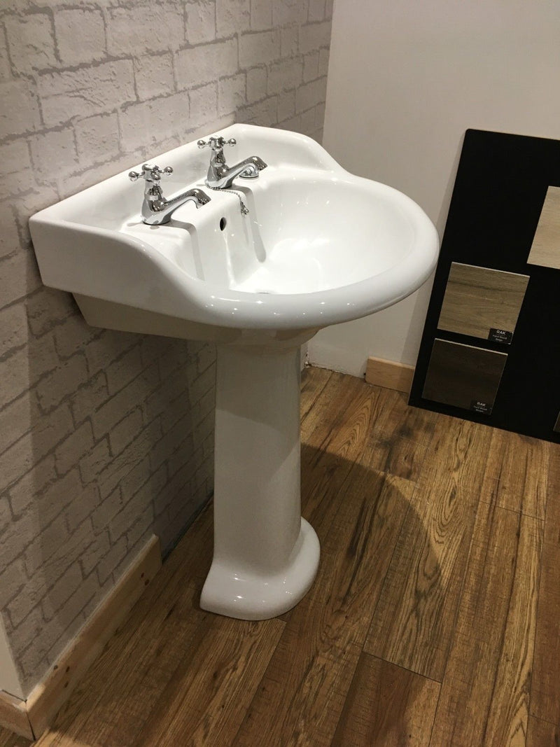 Vogue 2 TH Belton Basin with Full Pedestal - Leeds Clearance Bathrooms