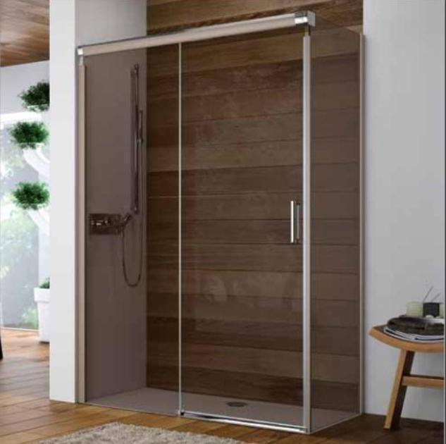 Huppe Design Elegance 1000mm Sliding Door with 760mm Side Panel, Pearlstone Tray - Leeds Clearance Bathrooms