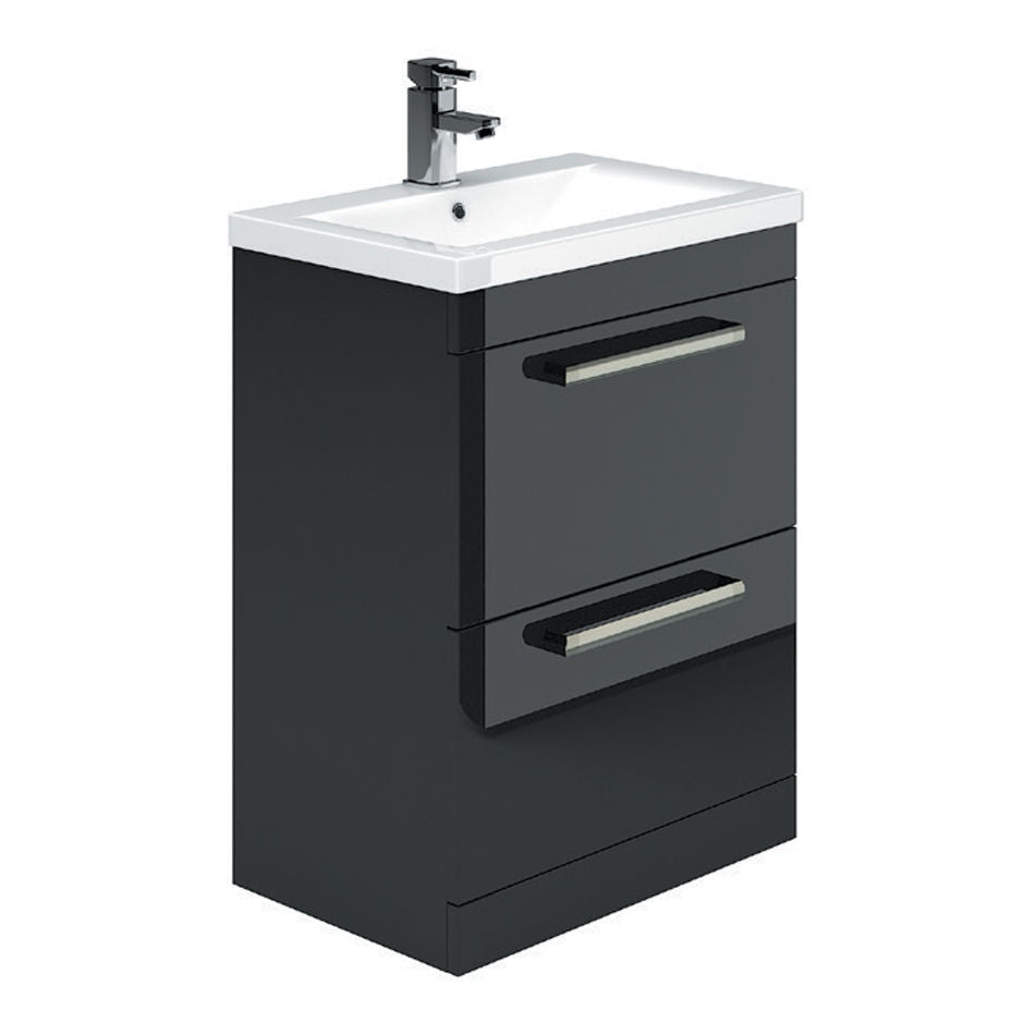600mm Floor Standing Vanity Unit and Sink in Gloss Metallic Black With Drawers - Leeds Clearance Bathrooms