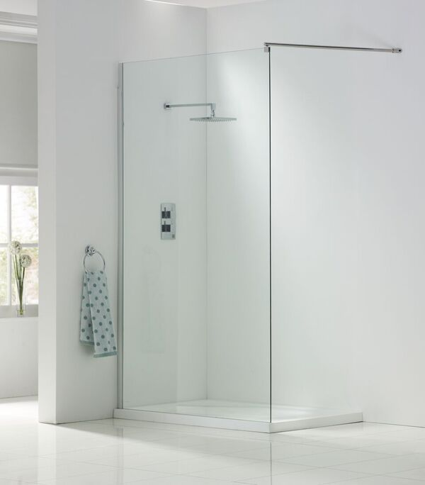 Wetroom Panels 2000mm High in 8mm Easy Clean Glass choice of sizes and fittings - Leeds Clearance Bathrooms