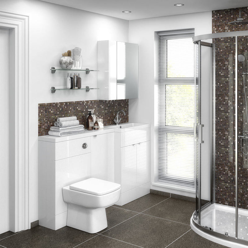 Hudson Reed Fusion 1500mm Combination Vanity Unit, WC and Storage Unit Gloss White - Leeds Clearance Bathrooms