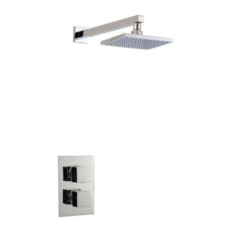 TWIN CONCEALED SQUARE SHOWER VALVE WITH SQUARE ARM AND HEAD - Leeds Clearance Bathrooms
