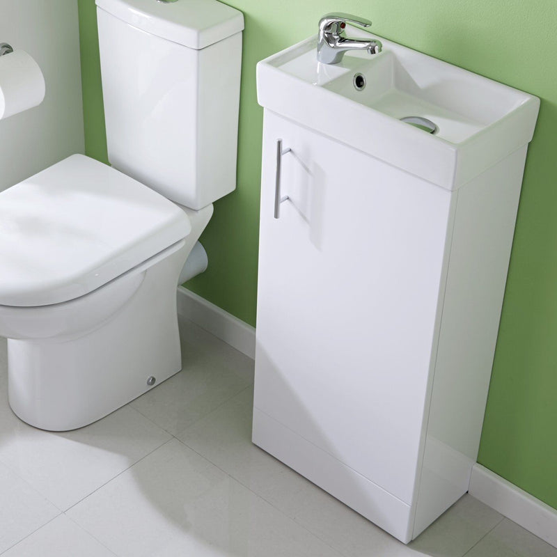 Cloakroom Gloss White Vanity Unit and Basin with choice of mono basin tap - Leeds Clearance Bathrooms
