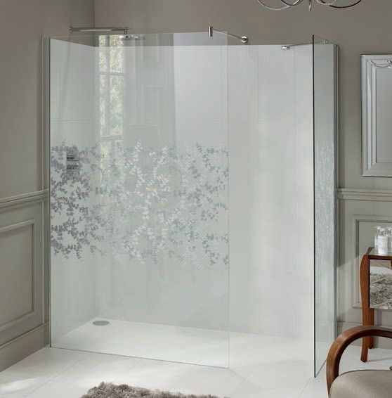 Laura Ashley 900mm Walk in Panel Wetroom Screen Hawthorn Patterned Glass - Leeds Clearance Bathrooms