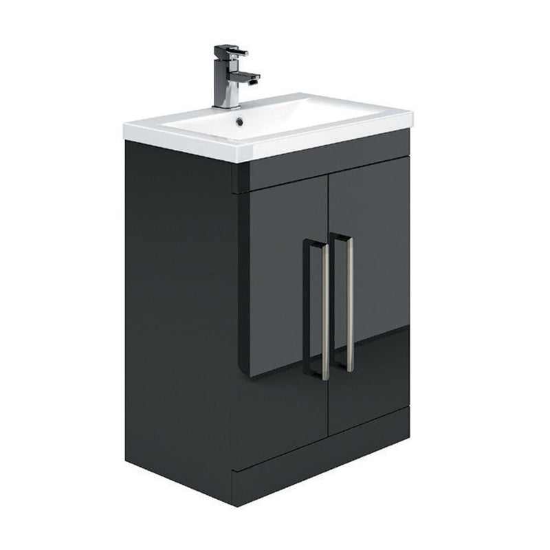 Gloss Black Metallic 600mm 2 Door Vanity Unit & Ceramic Basin - Leeds Clearance Bathrooms