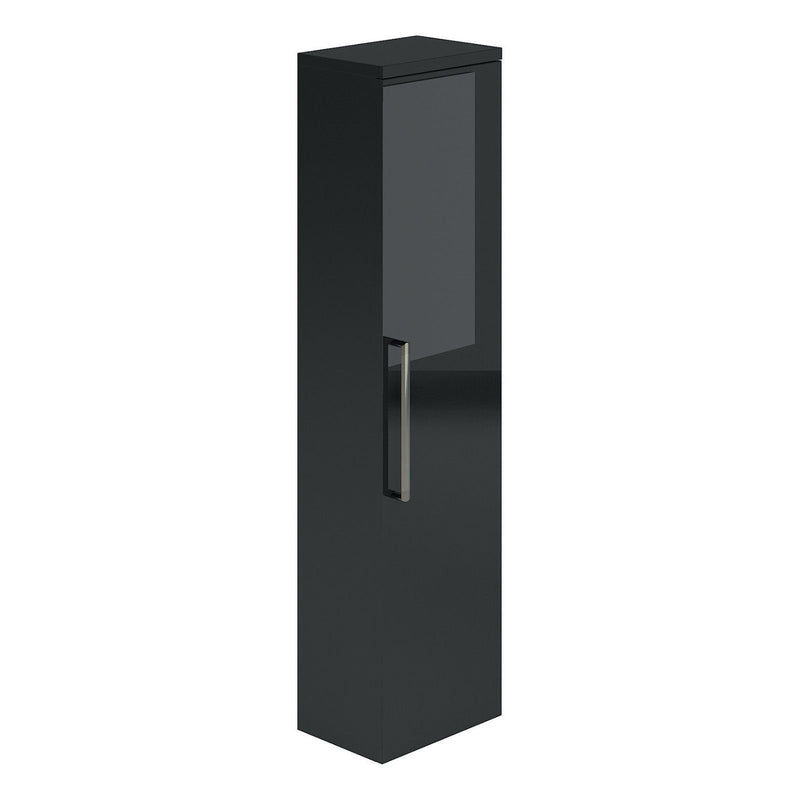 Gloss Black Metallic Wall Mounted Storage Unit - Leeds Clearance Bathrooms
