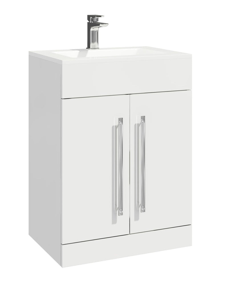 Lili 600mm Vanity Unit and Basin White Gloss