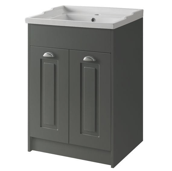 Kartell K-Vit Astley 600mm Floor Standing 2 Door Unit & Ceramic Basin - Matt Grey