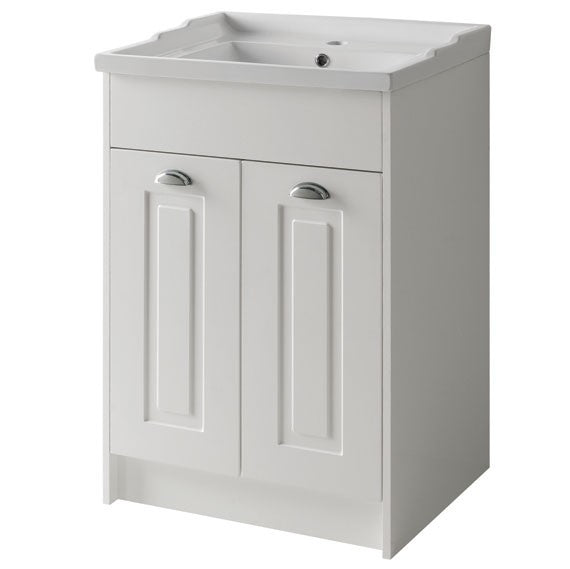 Kartell K-Vit Astley 600mm Floor Standing 2 Door Unit & Ceramic Basin - Matt White