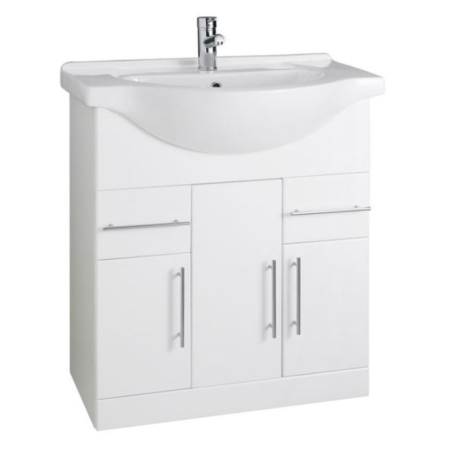 Encore 750mm White Gloss Vanity Unit and Ceramic Basin