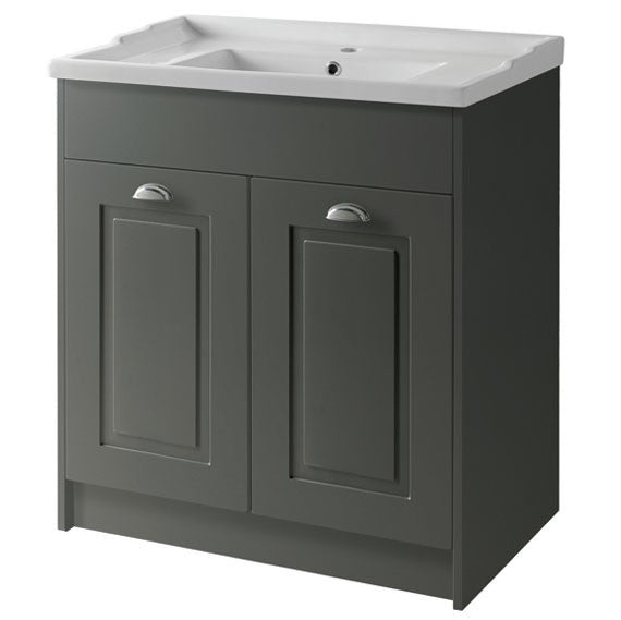 Astley 800mm Floor Standing 2 Door Unit & Ceramic Basin - Matt Grey
