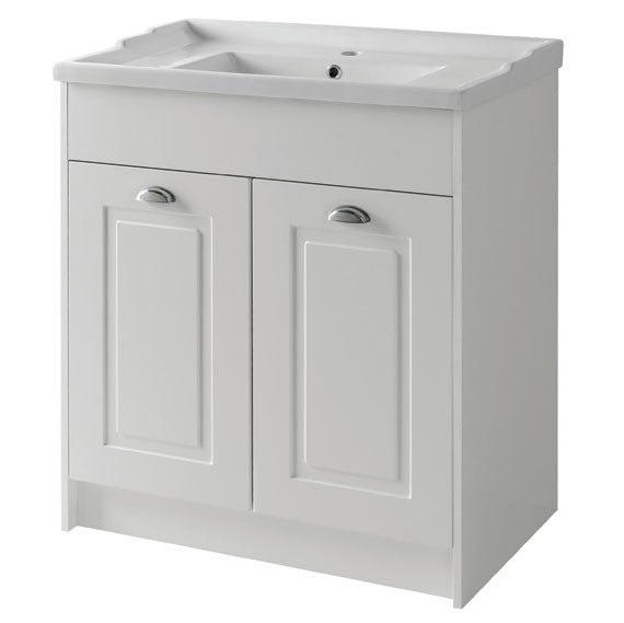 Astley 800mm Floor Standing 2 Door Unit & Ceramic Basin - Matt White