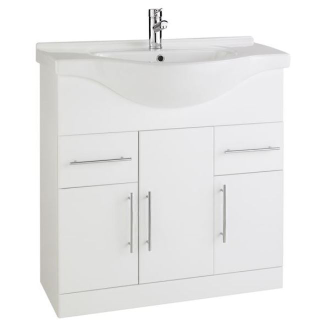 Encore 850mm Vanity Unit And Basin White Gloss