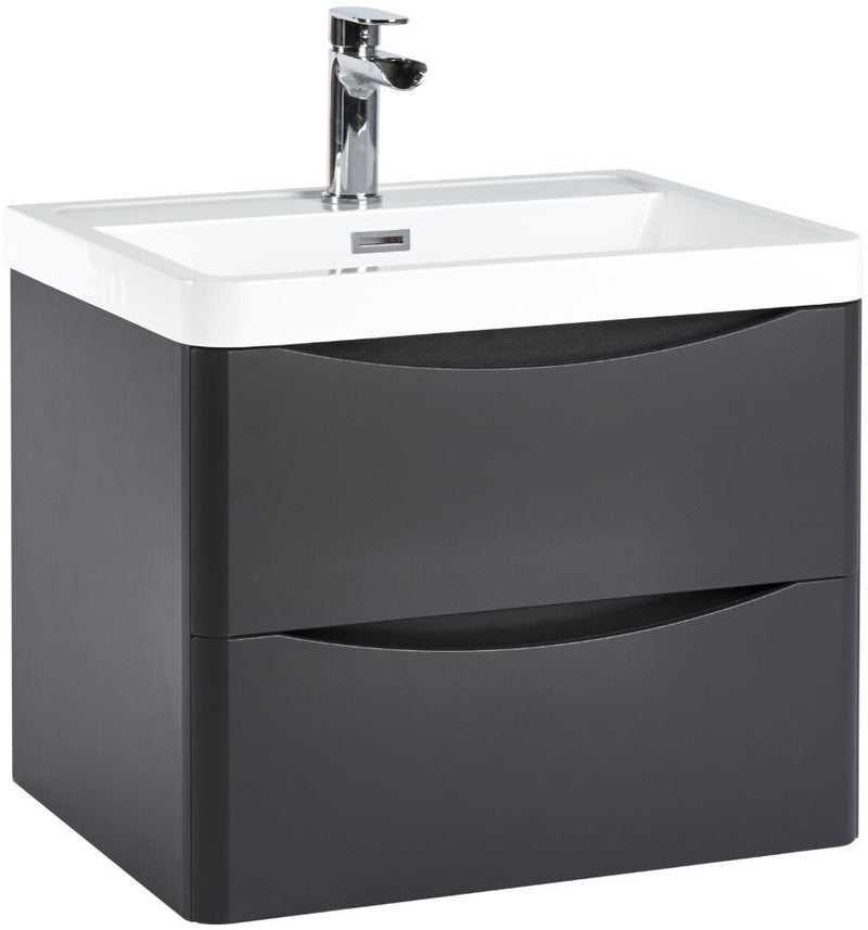 Bella 600 Wall Hung Vanity Unit And Basin Matt Grey