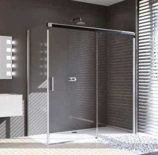 Huppe Design Pure 1500mm Sliding Door with 760mm Side Panel, Pearlstone Tray