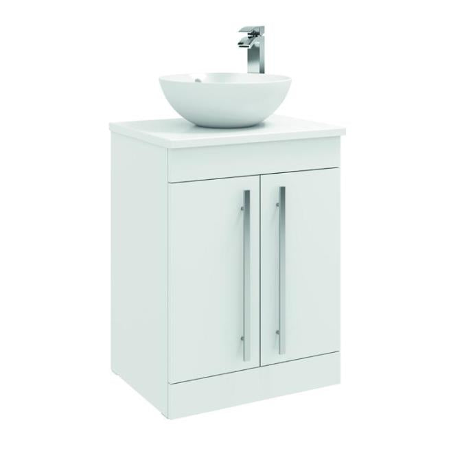 FUR001PU/433/435 Kartell K-Vit Purity 600mm Floor Standing 2 Door Unit with Ceramic Worktop & Sit On Bowl - White