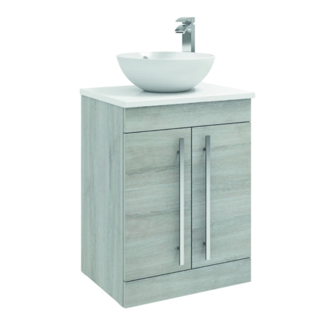 FUR004PU/433/435 Kartell K-Vit Purity 600mm Floor Standing 2 Door Unit with Ceramic Worktop & Sit On Bowl - Grey Ash