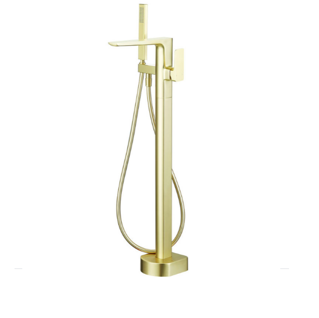 Finissimo Freestanding Bath Shower Mixer Tap Brushed Brass