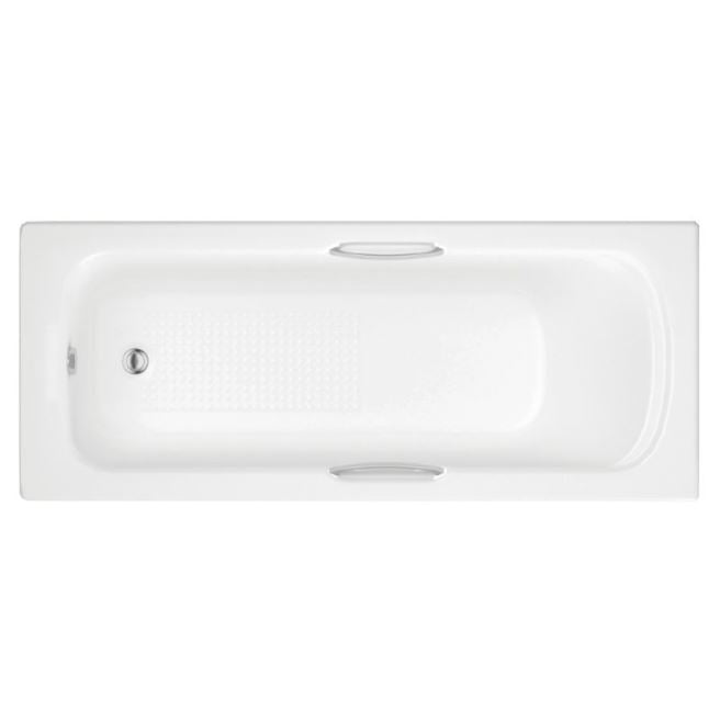 Granada II Single Ended Bath, Twin Grip with Textured Base, 1600 x 700mm