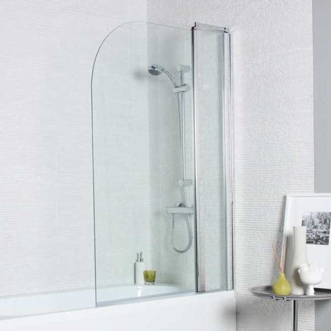 STRAIGHT BATH SCREEN CURVED EDGE WITH FIXED PANEL