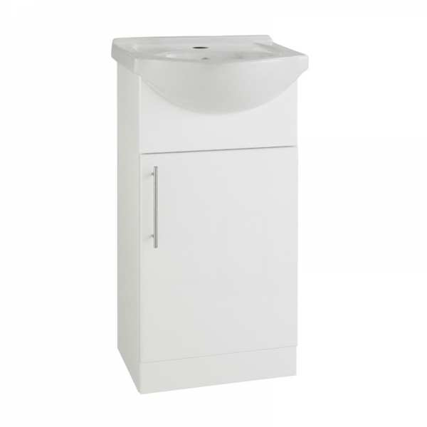 Impakt 450mm White Gloss Vanity Unit and Ceramic Basin