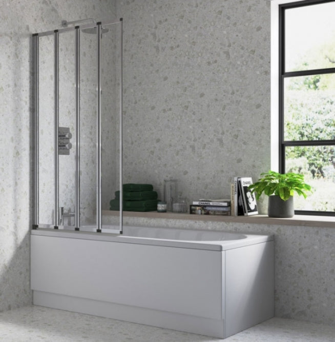 Four Panel Folding Bath Screen, Chrome Frame