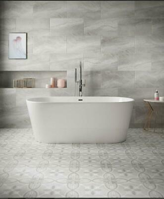 Perla Feature Matt Stone Effect Tiles Grey, box of 9