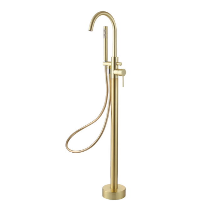 Pesca Freestanding Bath Shower Mixer Tap Brushed Brass