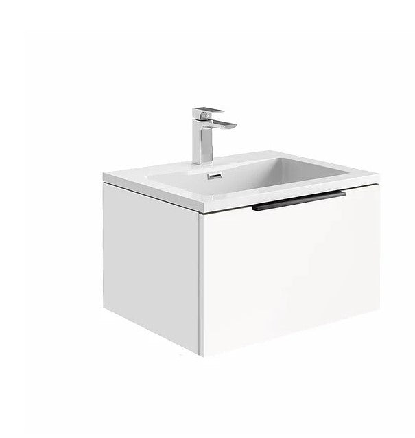 Ambience 600mm Wall Hung LED Vanity Unit And Basin Matt White, Grey or White Basin and Optional Frame