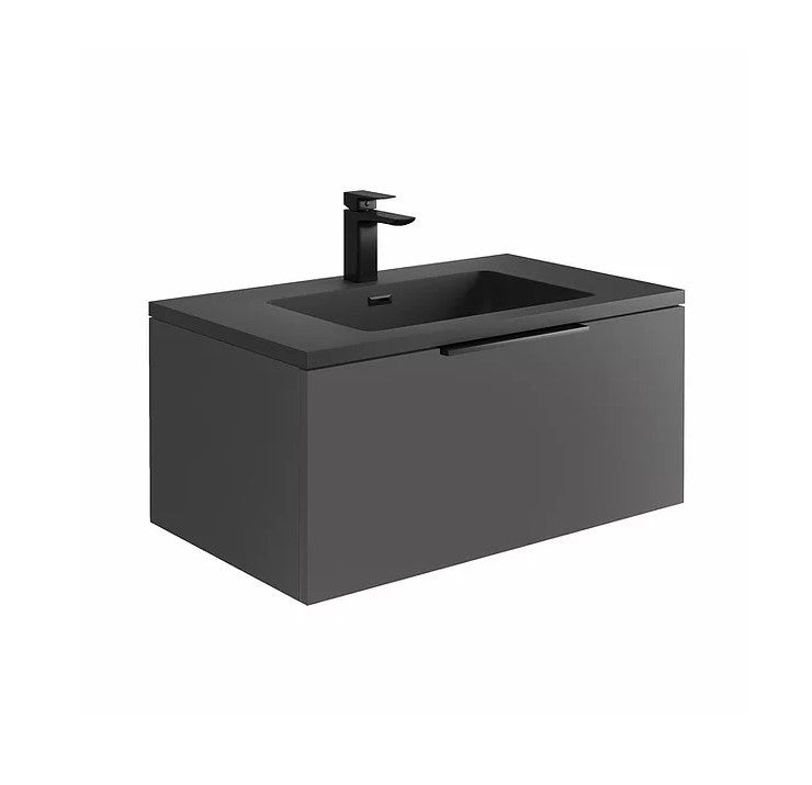 Ambience 800mm Wall Hung LED Vanity Unit And Basin Matt Grey, Grey or White Basin and Optional Frame