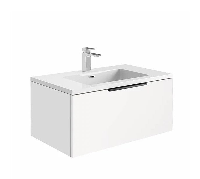 Ambience 800mm Wall Hung LED Vanity Unit And Basin Matt White, Grey or White Basin and Optional Frame