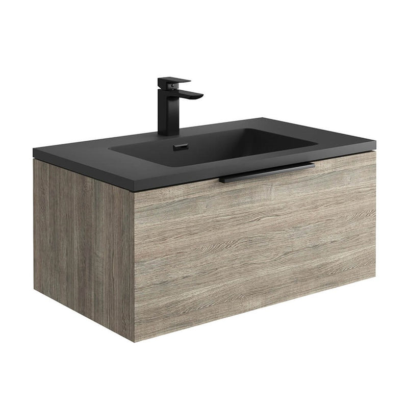 Ambience 800mm Wall Hung LED Vanity Unit And Basin Grey Oak, Grey or White Basin and Optional Frame