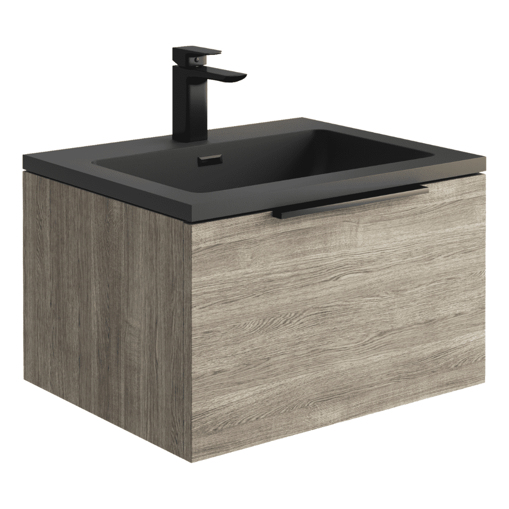 Ambience 600mm Wall Hung LED Vanity Unit And Basin Grey Oak, Grey or White Basin and Optional Frame