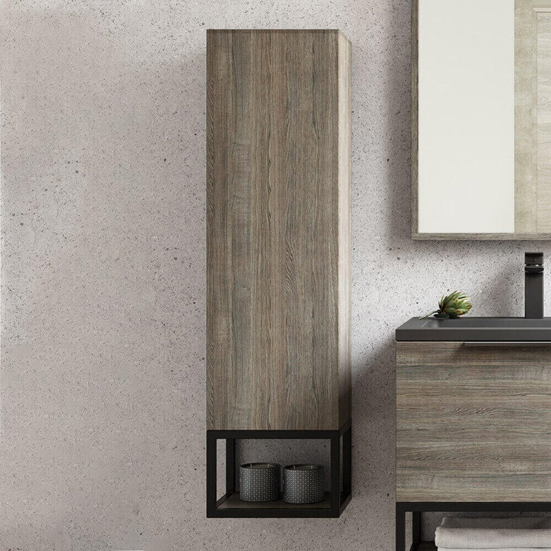 Ambience Grey Oak Wall Mounted Tall Storage Unit with Optional Frame and Shelf
