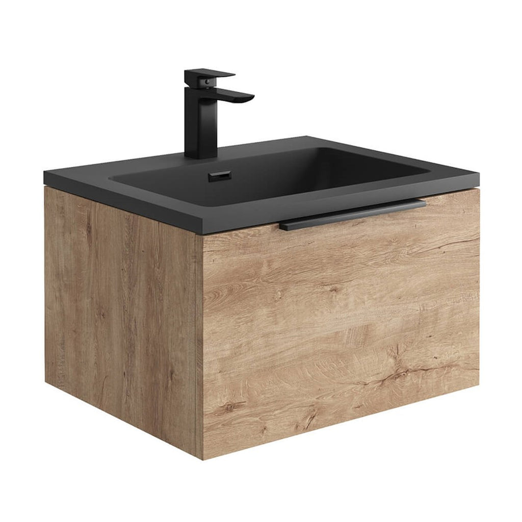 Ambience 600mm Wall Hung LED Vanity Unit And Basin Rustic Oak, Grey or White Basin and Optional Frame