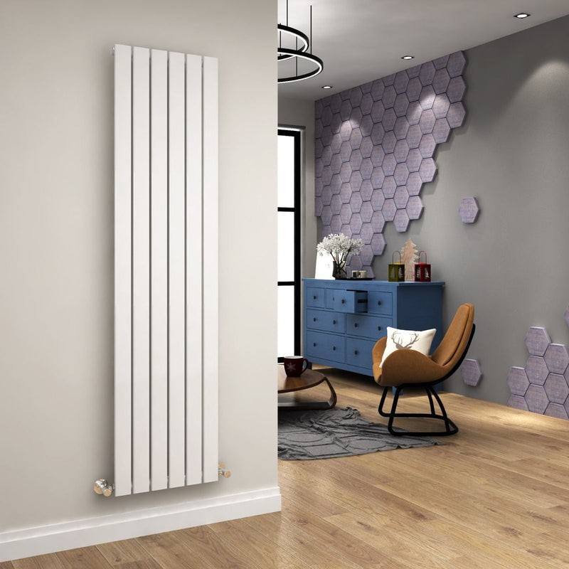 Ania Flat Tube Single Panel Radiator 1800 x 452mm White Gloss