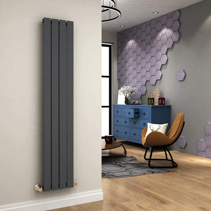 Ania Flat Tube Single Panel Radiator 1800 x 300mm Anthracite