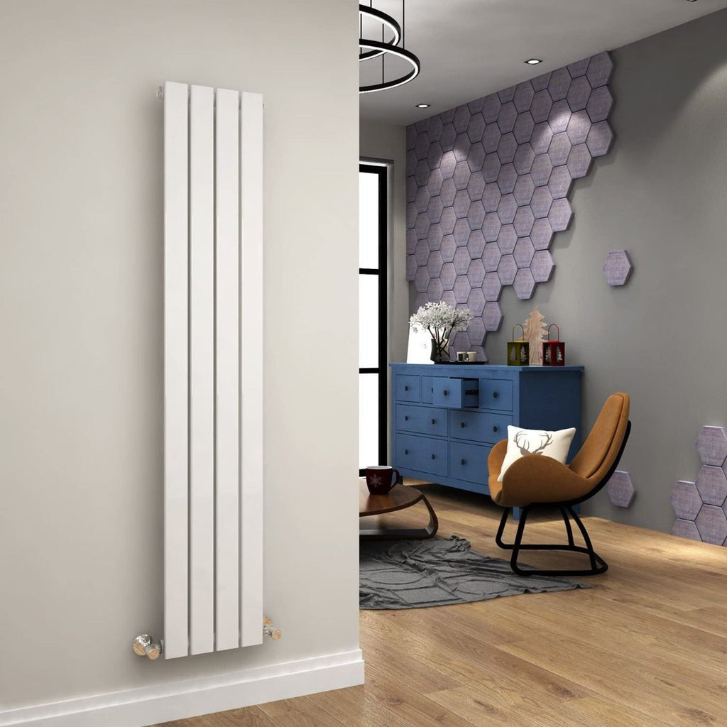 Ania Flat Tube Single Panel Radiator 1800 x 300mm White Gloss