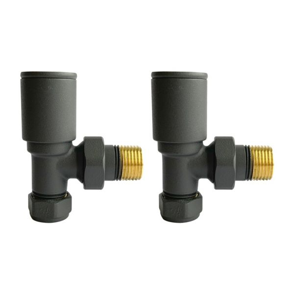 Modern Angled Radiator Valves Anthracite (Pair)