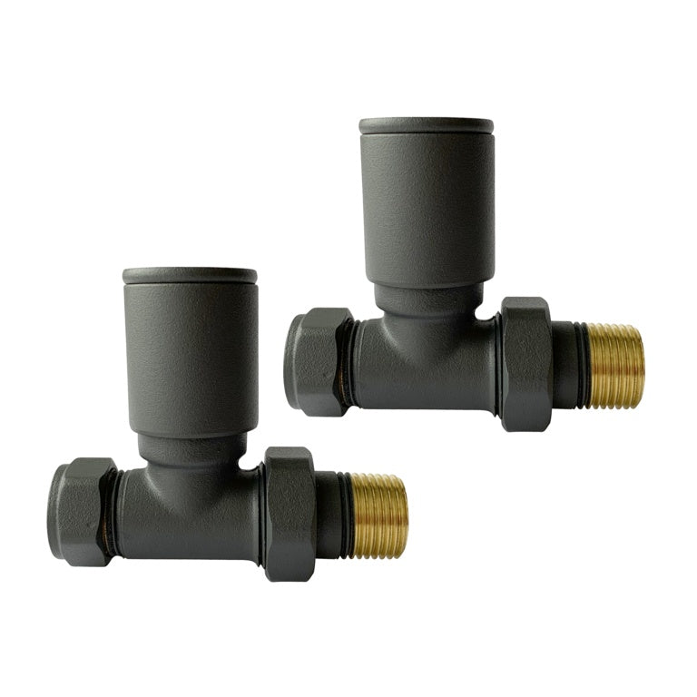 Modern Straight Radiator Valves Anthracite (Pair)
