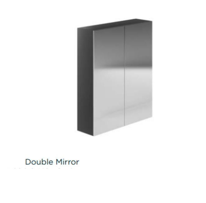 Avalon Supermatt Graphite 600mm Wall Mirror Unit