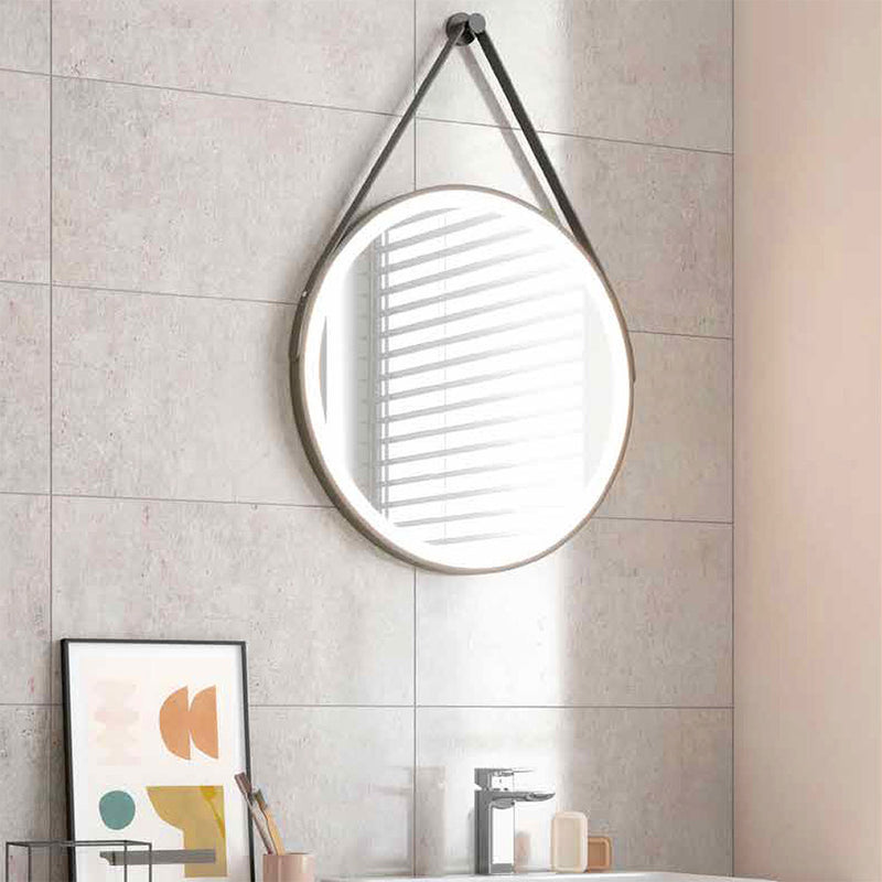 Belini Round Colour Changing LED Mirror With Black Strap