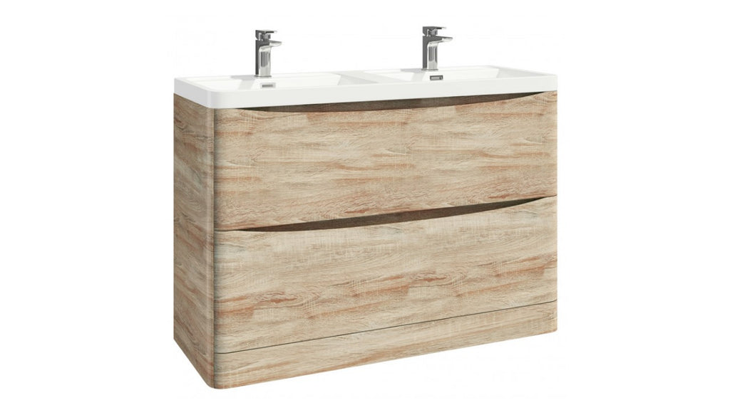 Bella 1200mm Vanity Unit And Double Basin Floor Standing Bardolino Driftwood Oak