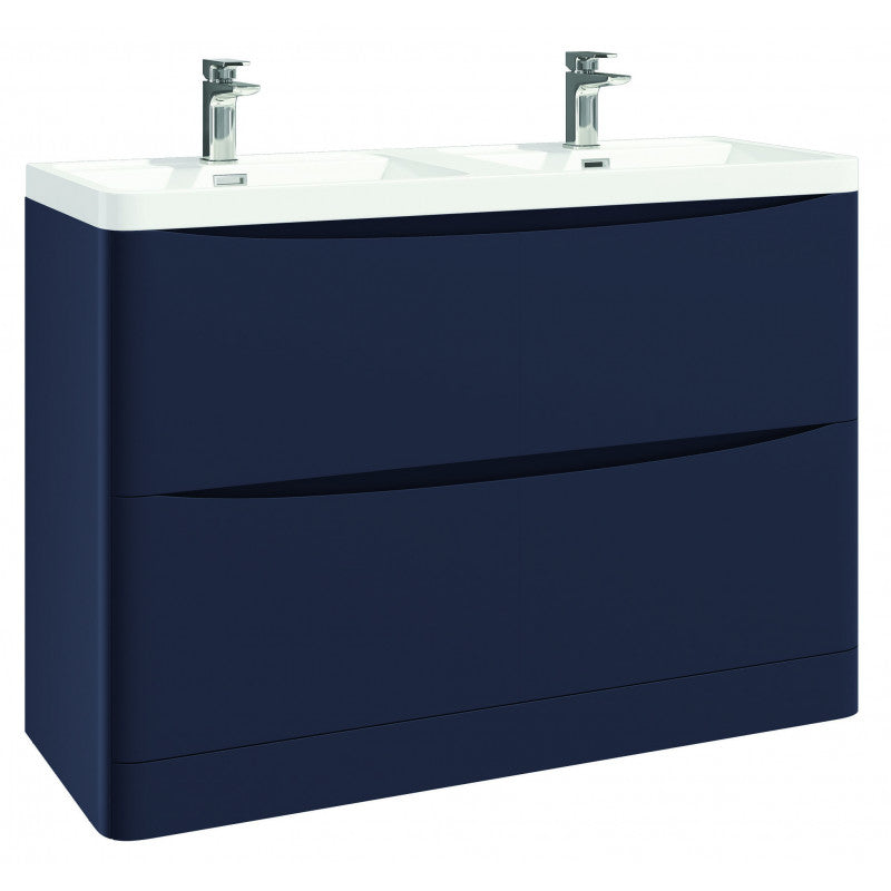 Bella 1200mm Vanity Unit And Double Basin Floor Standing Indigo Blue